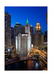 Chicagos Wrigley Building At Night Photographic Print by Steve Gadomski