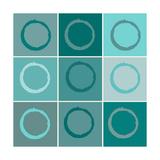 Neun Quadrate, blaue Kreise Giclée-Druck von Ricki Mountain
