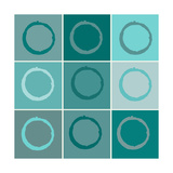 Nine Patch Blue Circles Giclee Print by Ricki Mountain