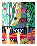 3 Abstract Trees By Heather Galler Giclee Print by Heather Galler