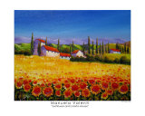 Sunflowers And Colorful Houses Reproduction procédé giclée par Manuela Valenti