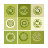 Nine Patch Green Tree Circles I Prints by Ricki Mountain