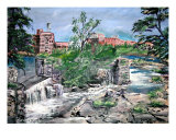 Plein Air River Waterfall Landscape Painting Giclee Print by Derek Mccrea