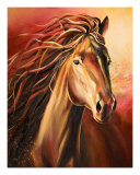 Horse-Lady In Red Giclee Print by Art By Kim
