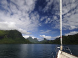 "Sy ""Adele"", 180 Foot Hoek Design, Approaching a Volcanic Island in French Polynesia Photographic Print by Rick Tomlinson"