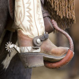 Close-Up of Cowboy Boot and Spurs at Sombrero Ranch, Craig, Colorado, USA Photographic Print by Carol Walker