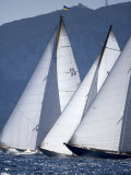 The Bows of Three Classic Yachts Racing Closely Upwind. Panerai Classics, Sardinia, September 2007 Photographic Print by Richard Langdon