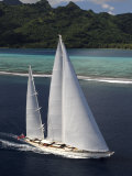 "Sy ""Adele"", 180 Foot Hoek Design, Underway Close to the Reef Off Huahine Island, French Polynesia Photographic Print by Rick Tomlinson"