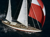"Sy ""Adele"", 180 Foot Hoek Design, Underway Off Bora Bora Island, French Polynesia Photographic Print by Rick Tomlinson"