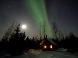 Cabin under Northern Lights and Full Moon, Northwest Territories, Canada March 2007 Posters by Eric Baccega