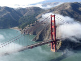 Low Clouds Clearing around the Golden Gate Bridge, San Francisco Bay, California Photographic Print by Sandra Cannon