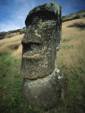 Ancient Stone Statue, Easter Island, Pacific Ocean 1999 Posters by George Chan