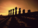 Easter Island Landscape with Giant Moai Stone Statues at Sunset, Oceania Photographic Print by George Chan