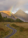Mountain Road with Rainbow in Glen Etive, Argyll, Scotland, UK, October 2007 Photographic Print by Niall Benvie