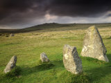 Merrivale Stone Row, Stormy Evening, Dartmoor Np, Devon, Uk. September 2008 Photographic Print by Ross Hoddinott