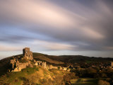 Corfe Castle and Corfe Village, Late Evening Light, Dorset, Uk. November 2008 Print by Ross Hoddinott