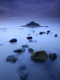 St Michael's Mount at Sunrise, from Marazion Beach, Cornwall, Uk. November 2008 Print by Ross Hoddinott