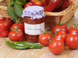 Country Kitchen Scene with Home Made Chutney and Ingredients - Tomatoes and Peppers, UK Photographic Print by Gary Smith