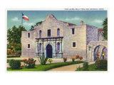 San Antonio, Texas - Exterior View of the Alamo, Republic of Texas Flag, c.1944 Posters