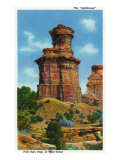 "Palo Duro Canyon State Park, Texas - View of the ""Lighthouse"" Rock Formation, c.1940 Prints by  Lantern Press"