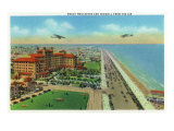 Galveston, Texas - Aerial View of Beach Boulevard and Seawall, c.1947 Posters