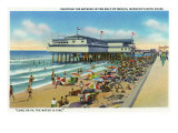 Galveston, Texas - Exterior View of Murdoch's Bath House, Crowds on the Beach, c.1947 Art by  Lantern Press