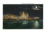 Galveston, Texas - a Moonlight Scene on the Beach, c.1947 Posters by  Lantern Press
