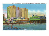 Galveston, Tx - Exterior View of the Buccaneer Hotel, Murdoch's Bath House, Beach Front, c.1947 Posters