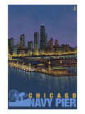 Navy Pier and Chicago Skyline, c.2008 Prints by  Lantern Press