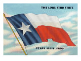 Texas - View of the Texas State Flag in the Sky, the Lone Star State, c.1948 Posters by  Lantern Press