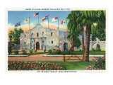 San Antonio, Tx - Exterior View of the Alamo, French, Spanish, Us, Republic, Mexican Flags, c.1944 Art