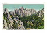 Custer State Park, South Dakota - Needles Highway View of the Cathedral Spires, c.1937 Prints by  Lantern Press