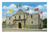 San Antonio, Texas - Exterior View of the Alamo under Six Different Flags, c.1940 Posters