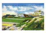 Newport, Rhode Island - View of Cliff Walk Near Bailey's Beach, c.1935 Prints by  Lantern Press