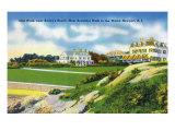 Newport, Rhode Island - View of Cliff Walk Near Bailey's Beach, c.1935 Prints