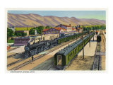 Ogden, Utah - View of Trains at Union Depot, c.1937 Poster by  Lantern Press
