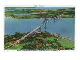 Providence, Rhode Island - Aerial View of Mount Hope Bridge and Mount Hope Bay, c.1940 Poster von  Lantern Press