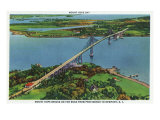 Providence, Rhode Island - Aerial View of Mount Hope Bridge and Mount Hope Bay, c.1940 Poster by  Lantern Press