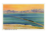 Utah - Train Crossing the Great Salt Lake, c.1937 Posters by  Lantern Press