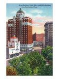 El Paso, Texas - San Jacinto Plaza, Views of Kress and Mills Buildings, Hilton Hotel, c.1940 Prints