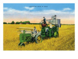 Texas - View of Farmers Harvesting Grain on a John Deere Tractor, c.1940 Posters by  Lantern Press