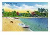 Sebago Lake, Maine - View of the Beach at Sebago Lake Station, c.1949 Prints by  Lantern Press