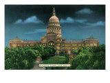 Austin, Texas - Exterior View of the State Capitol Building at Night, c.1943 Prints