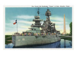 "Houston, Texas - View of the Grand Old Battleship ""Texas"" at Rest in Harbor, c.1948 Prints by  Lantern Press"