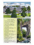 "Rockbridge County, Virginia - View of Natural Bridge, Hotel, and ""In Old Virginia"" Poem, c.1936 Print"