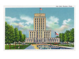 Houston, Texas - Exterior View of City Hall, c.1948 Prints