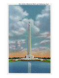 Harris County, Texas - View of the San Jacinto Monument and the Reflecting Pool, c.1948 Prints