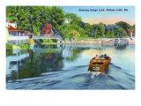 Sebago Lake, Maine - View of a Motorboat Entering Songo Lock, c.1949 Print by  Lantern Press