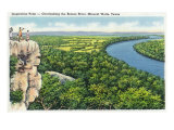 Overlooking the Brazos River from Inspiration Point, c.1945, Mineral Wells, TX, Poster