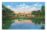 Fort Worth, Texas - Rock Springs Park View of the Reflection Pool and Botanic Garden, c.1935 Art by  Lantern Press
